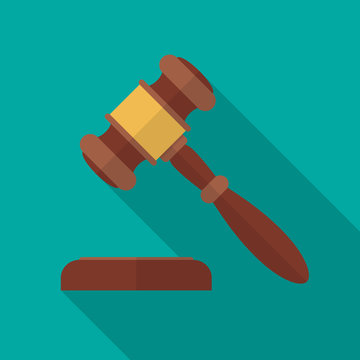 Judge gavel or auction hammer icon with long shadow. Flat design style. Judge hammer silhouette. Simple icon. Modern flat icon in stylish colors. Web site page and mobile app design vector element.