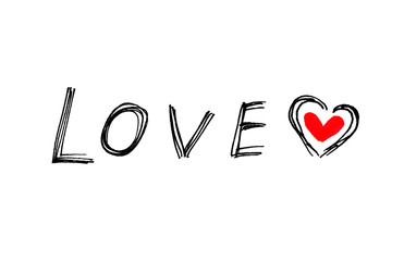 Word ''Love'' with abstract heart on white background