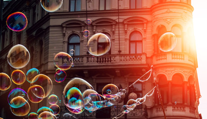 Soap bubbles in the center of Prague on the sun.