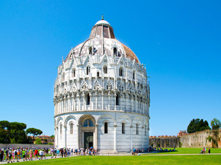 Monumental dome of Baptistery of St. John, aka Battistero di San Giovanni, Roman Catholic ecclesiastical building in the Piazza dei Miracoli, Pisa, Tuscany, Italy, Europe
