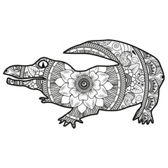 Vector illustration of a crocodile mandala for coloring book, coccodrillo bianco e nero vettoriale da colorare