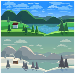 Mountain valley landscape in two seasons. Winter summer lake scenic view. House on river bank in green snowy wood. Freehand cartoon outdoors retro style. Vector countryside scene banner background
