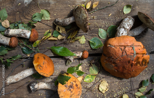 Wild mushrooms on a wooden table orange fungus food for sale small business agriculture - Wild mushrooms business ideas ...