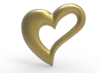 3d illustration of gold heart. white background isolated. icon for game web.