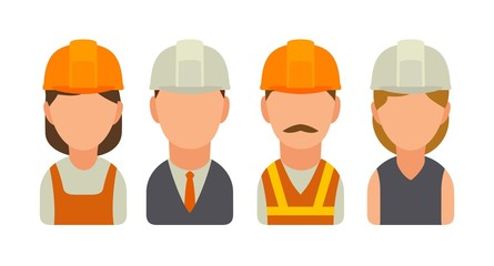 Set icon character builder. Vector flat illustration on white background.