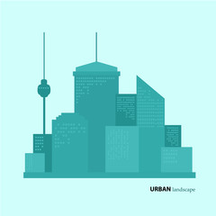 Flat design urban landscape. Vector color illustration
