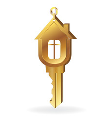 House key gold real estate logo Buy this stock vector and explore