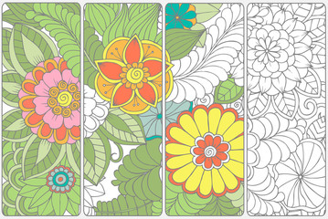 Set of four bookmarks .Floral doodling