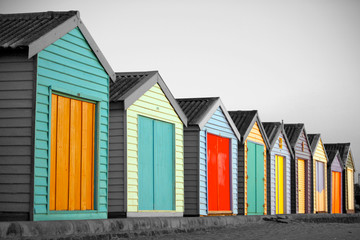 Preview Save to a lightbox  Find Similar Images  Share  Edit Stock Photo: Bright Painted Houses at the beach in Melbourne, Australia