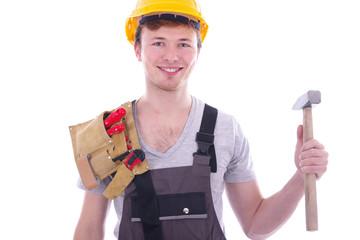 sympathischer Handwerker vor weißem Hintergrund