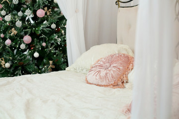 White Christmas decorations, Christmas tree, gifts, bedroom