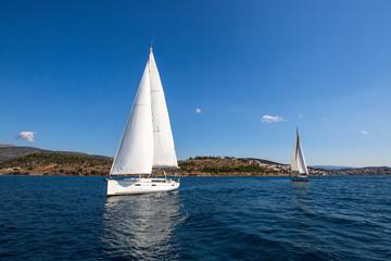 Luxury yachts at Sailing regatta at the Mediterranean Sea.