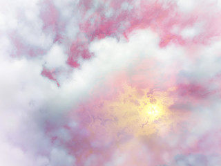 Beautiful pink pastel sky with sun and cloud