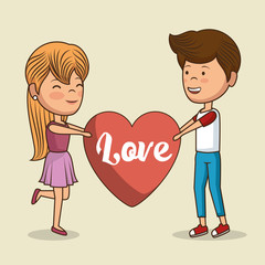 lovely couple valentines day vector illustration design