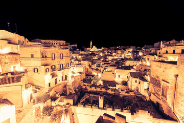 panoramic view of typical stones (Sassi di Matera) and church of Matera UNESCO European Capital of Culture 2019