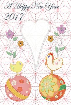 年賀状 デザイン 鳥と毬の彩り