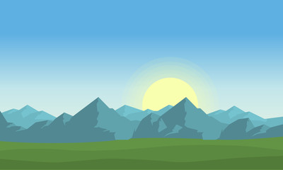 At morning mountain landscape vector