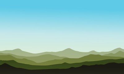 Silhouette of hill beauty landscape