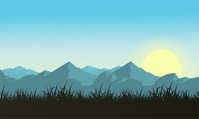 Illustartion of mountain with sun landscape