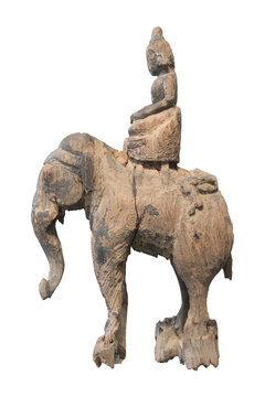 Wood elephant with monk sculpture on white background
