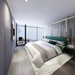 3D illustration of bed  room indoor