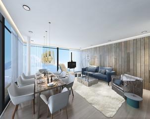 3D illustration of living room indoor