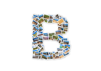 Letter B uppercase font shape alphabet collage made of my best landscape pictures.