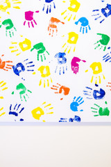 Kid's hand printed on white background