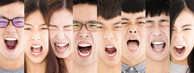 Composition of angry asian young people