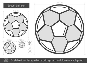 Soccer ball line icon.