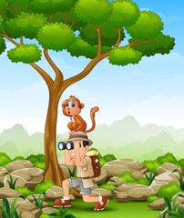 Cartoon boy using binoculars with a monkey over her head in the forest