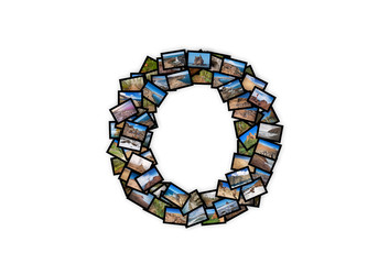 Letter O uppercase font shape alphabet collage. Made of my best landscape pictures.