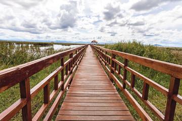 Beautiful of wooden bridge and lake in Sam Roi Yot National Park
