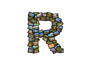 Letter R uppercase font shape alphabet collage. Made of my best landscape pictures.