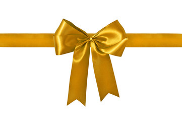 Golden ribbon with bow with tails isolated on white with clippin