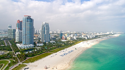 Miami South Beach Aerial View Sand Ocean and High Rises