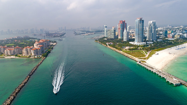 Speed Boat In Government Cut South Beach Miami Aerial View