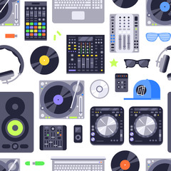 Music concept seamless pattern made with icons. Includes dj, rock, club and audio elements. EPS10 vector.