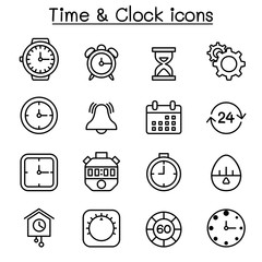 Time & clock icon set in thin line style