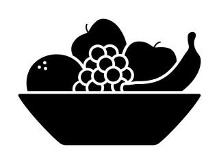 Bowl of fruit / fruits with orange, banana, grapes and apples flat icon for apps and websites
