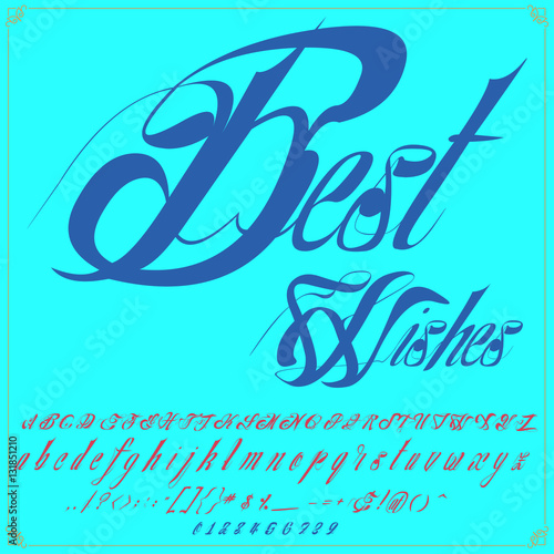 Hand Drawn Typeface Set Named Best Wishes Brush Painted Characters Lowercase And Uppercase Handwritten Script Font