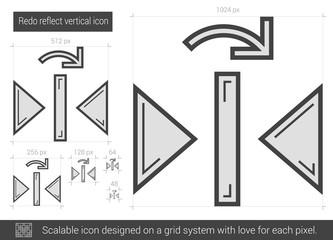 Redo reflect vertical line icon.