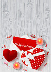 Valentine's Day greeting poster. Top view on composition with gift boxes and red case for ring. Beautiful backdrop with confetti and serpentine on wooden texture. Vector illustration.