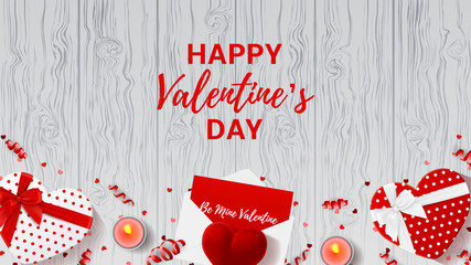 Happy Valentine's Day web background. Top view on composition with gift boxes and red case for ring. Beautiful banner with confetti and serpentine on wooden texture. Vector illustration.