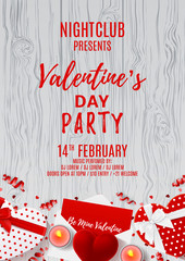 Happy Valentine's Day greeting paty poster. Top view on composition with gift boxes and red case for ring. Beautiful banner with confetti and serpentine on wooden texture. Vector illustration.