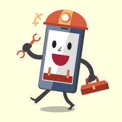 Cartoon smartphone technician character