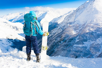 Woman, snowboard winter, back, backpack