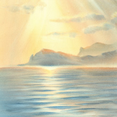 Sunset under the sea watercolor
