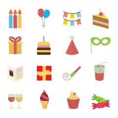 Birthday Icons Design Vector.