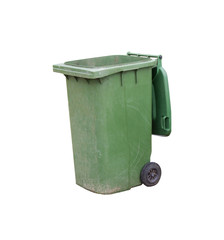 old green plastic garbage bin isolated on white background